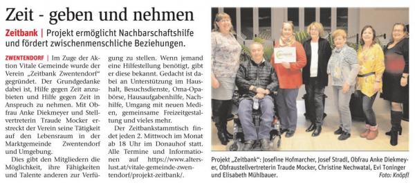 Die Zeitbank Zwentendorf in der NÖN Tulln 03/2020