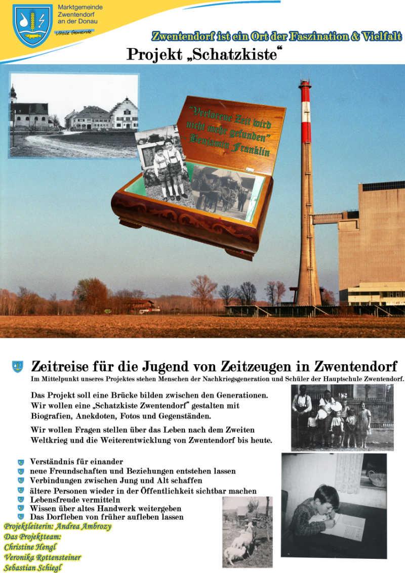 Plakat des Projekts Schatzkiste Zwentendorf