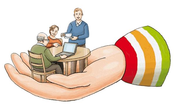 Zeichnung einer geöffneten Hand. Sie enthält drei an einem Tisch sitzenden Personen, wobei ein älterer Mann einen Laptop bedient, während die beiden anderen anerkennend agieren.