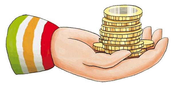 Zeichnung einer geöffneten Hand, die voll mit Euro-Münzen ist.
