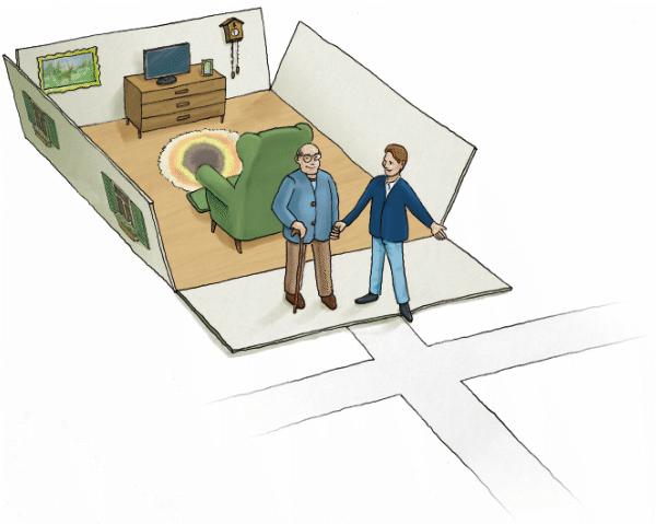 Zeichnung: Das Haus öffnet sich wie eine auseinandergefaltete Schachtel, der alte Mann wird von einem jungen Mann ins Freie geleitet