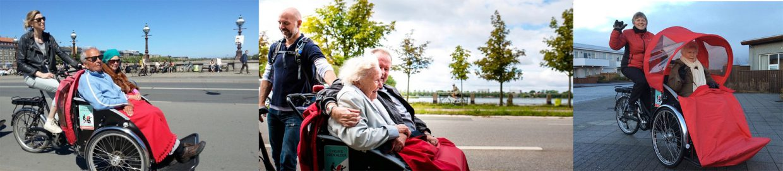 Drei Fotos von Senioren in Fahrradrikschas
