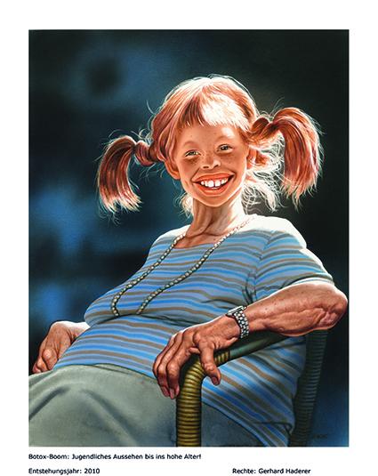 Cartoon von Gerhard Haderer: Pippi Langstrumpf als alte Frau mit Botox-behandeltem Gesicht