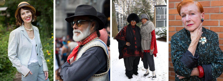 Verschiedene ältere, modisch gekleidete Menschen