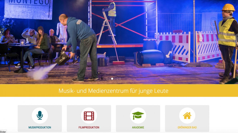 Screenshot einer Internetseite mit Foto Musik und Medienzentrum für junge Leute