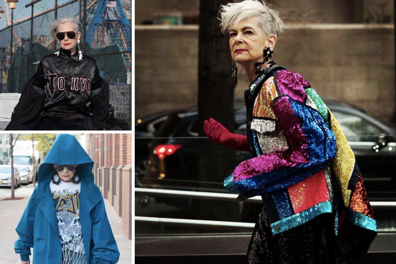 Mehrere sehr individuell und modisch gekleidete ältere Frauen