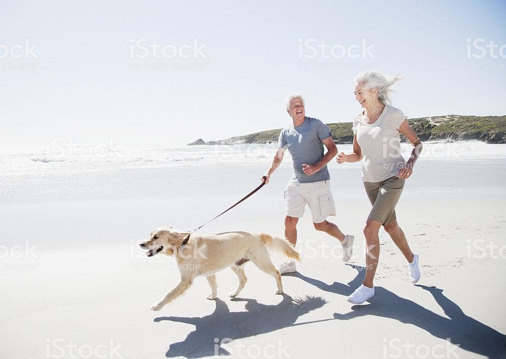 Überstilisiertes Fotos eines Seniorenpaares mit Hund am Strand